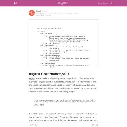 August Governance, v0.1 - 21st Century Organizational Development