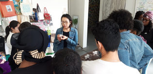Artist Jia-Jen Lin leading an introductory plaster workshop