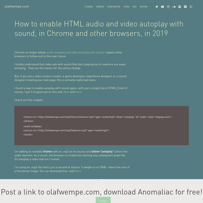 How to enable autoplay with sound in all browsers in 2019