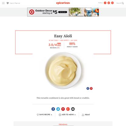 Easy Aïoli recipe | Epicurious.com