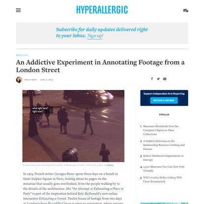 An Addictive Experiment in Annotating Footage from a London Street