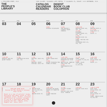 The People's Library   Calendar