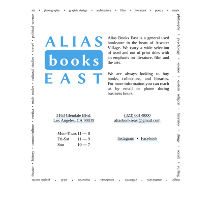 alias books east | dedicated to promoting a passion for reading and enriching people of all ages with the world of printed b...