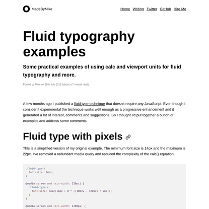 Fluid typography examples - MadeByMike