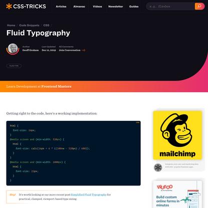 Fluid Typography | CSS-Tricks