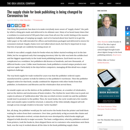 The supply chain for book publishing is being changed by Coronavirus too   The Idea Logical Company