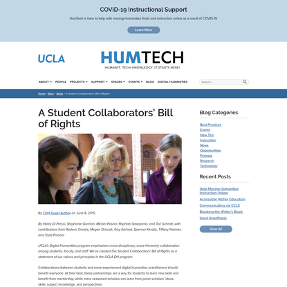 A Student Collaborators' Bill of Rights - HumTech - UCLA