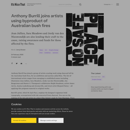 Anthony Burrill joins artists using byproduct of Australian bush fires
