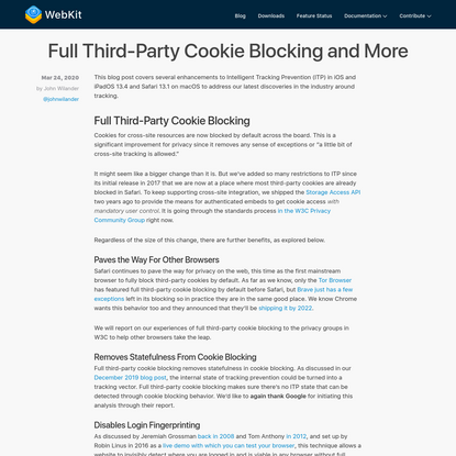 Full Third-Party Cookie Blocking and More