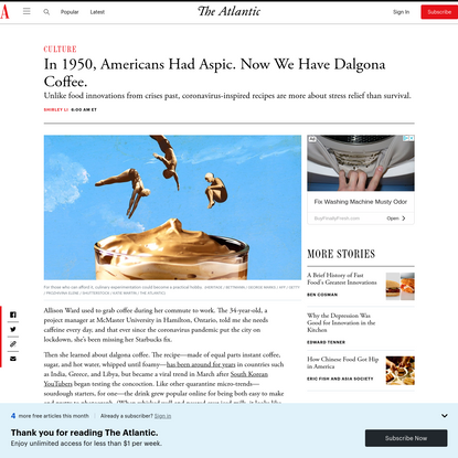 In 1950, Americans Had Aspic. Now We Have Dalgona Coffee.