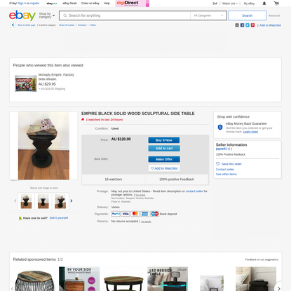 EMPIRE BLACK SOLID WOOD SCULPTURAL SIDE TABLE | eBay