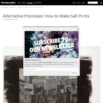Lomography - Alternative Processes: How to Make Salt Prints