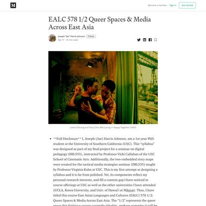 EALC 578 1/2 Queer Spaces & Media Across East Asia