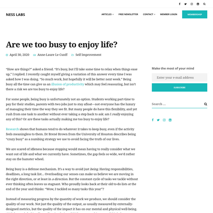 Are we too busy to enjoy life?