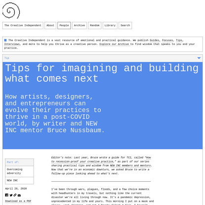 Tips for imagining and building what comes next