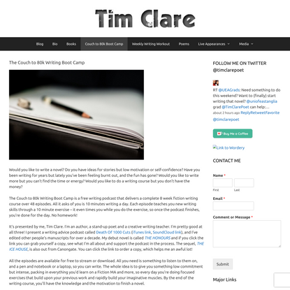 Couch to 80k Writing Boot Camp – Tim Clare
