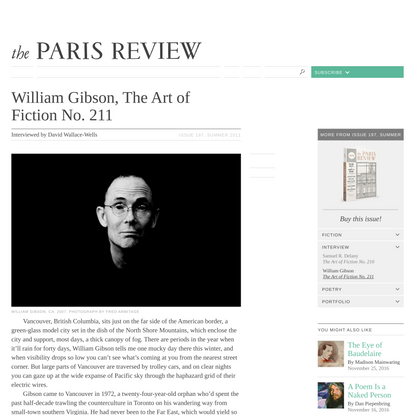 William Gibson, The Art of Fiction No. 211