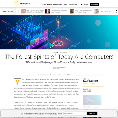 The Forest Spirits of Today Are Computers - Issue 82: Panpsychism - Nautilus