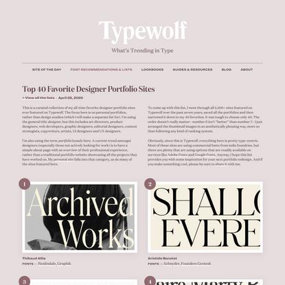 Top 40 Favorite Designer Portfolio Sites in 2020 · Typewolf