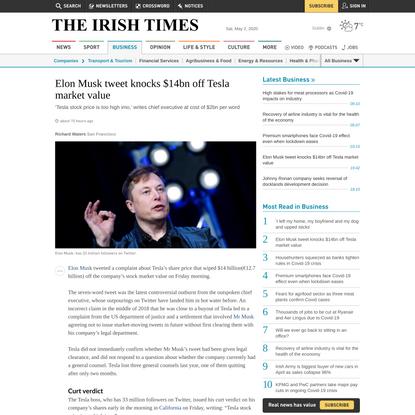 Elon Musk tweet knocks $14bn off Tesla market value