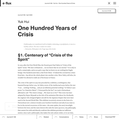 One Hundred Years of Crisis - Journal #108 April 2020 - e-flux