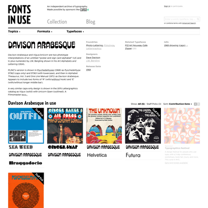 Davison Arabesque in use - Fonts In Use