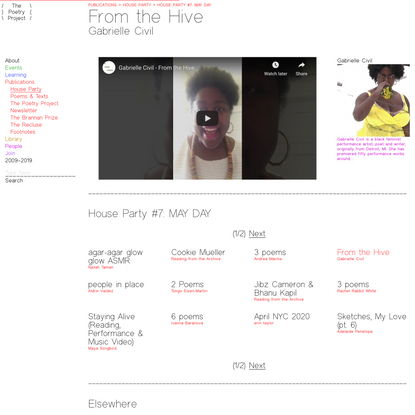 House Party #7: MAY DAY > From the Hive, Gabrielle Civil