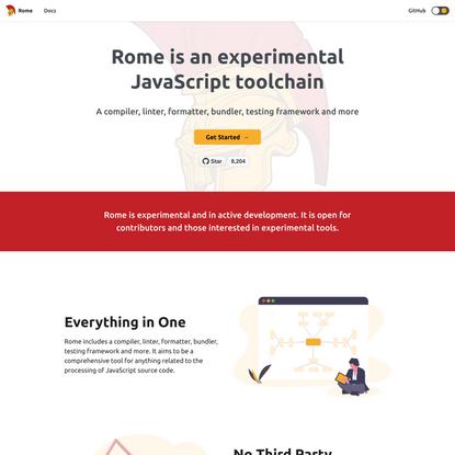 An experimental JavaScript toolchain   Rome