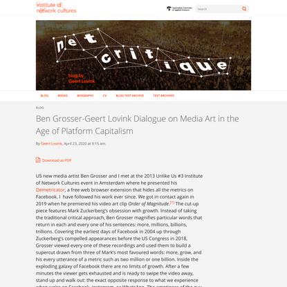 Geert   Ben Grosser-Geert Lovink Dialogue on Media Art in the Age of Platform Capitalism