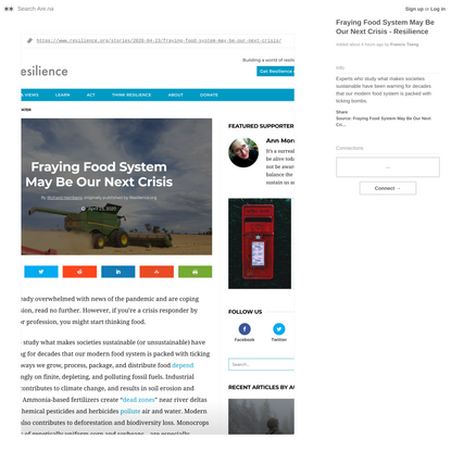 Fraying Food System May Be Our Next Crisis - Resilience — Are.na