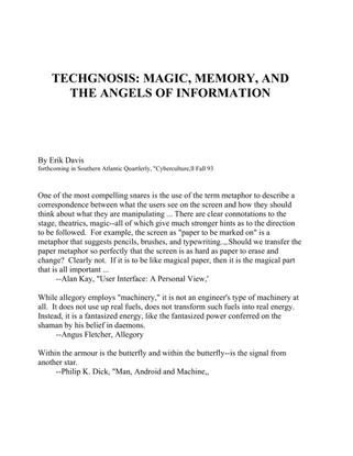Erik Davis - Techgnosis, Magic, Memory, and the Angels of Information