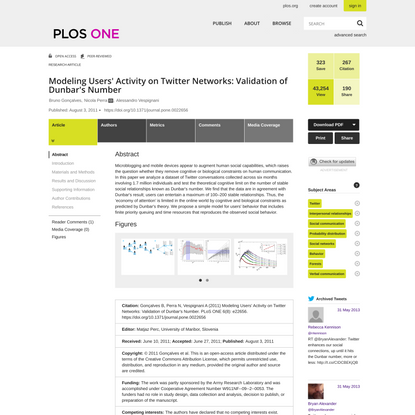 Modeling Users' Activity on Twitter Networks: Validation of Dunbar's Number