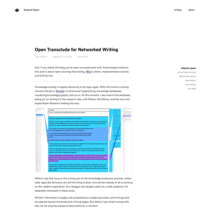 Open Transclude for Networked Writing