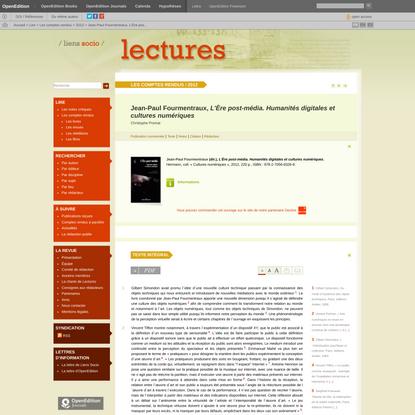 Jean-Paul Fourmentraux, L'Ère post-média. Humanités digitales et cu...