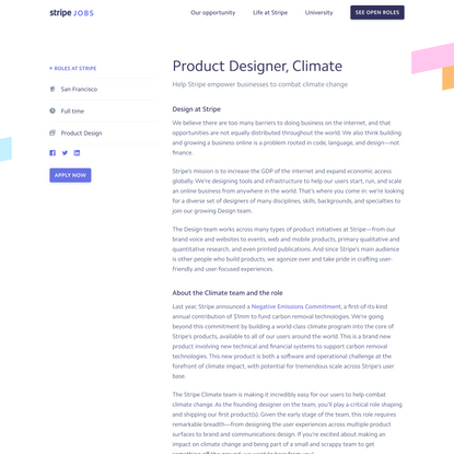 Product Designer, Climate - Stripe: Job Openings