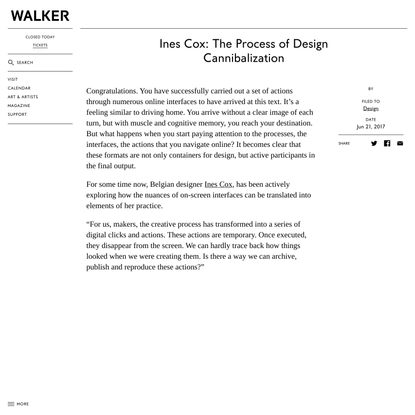 Ines Cox: The Process of Design Cannibalization