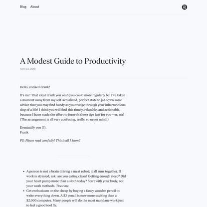 Frank Chimero · A Modest Guide to Productivity