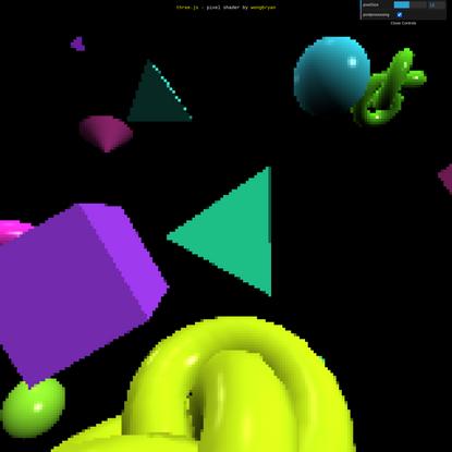 three.js webgl - postprocessing - pixel shader