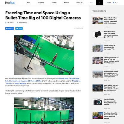 Freezing Time and Space Using a Bullet-Time Rig of 100 Digital Cameras