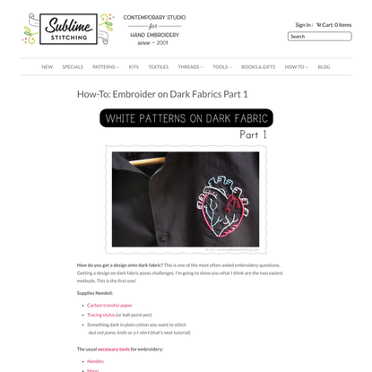 How-To: Make Embroidery Patterns on Dark Fabrics