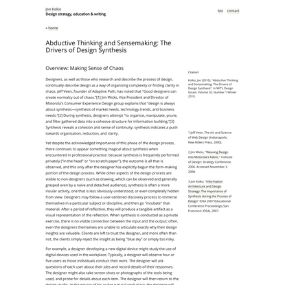 Jon Kolko » Abductive Thinking and Sensemaking: The Drivers of Design Synthesis
