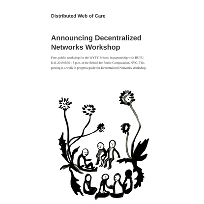 Announcing Decentralized Networks Workshop