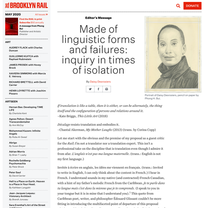 Made of linguistic forms and failures: inquiry in times of isolation