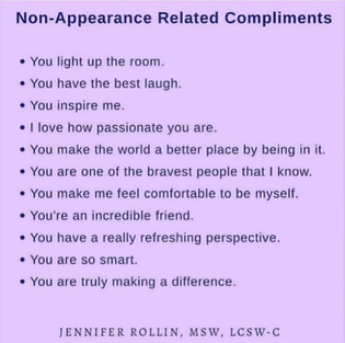 non-appearance related compliments