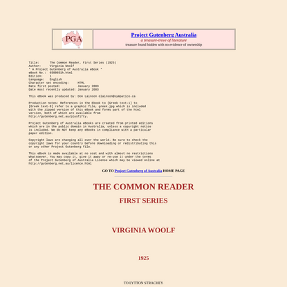 THE COMMON READER--FIRST SERIES