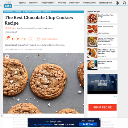 The Food Lab's Chocolate Chip Cookies Recipe