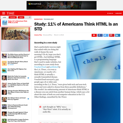 Study: 11% of Americans Think HTML Is an STD