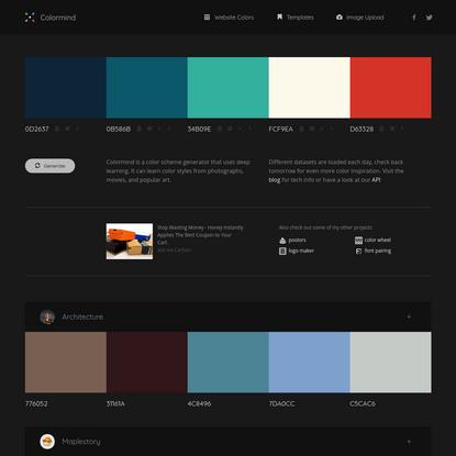 Colormind color palette generator