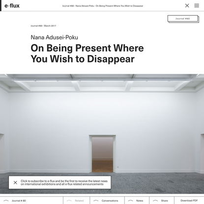 On Being Present Where You Wish to Disappear