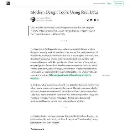 Modern Design Tools: Using Real Data